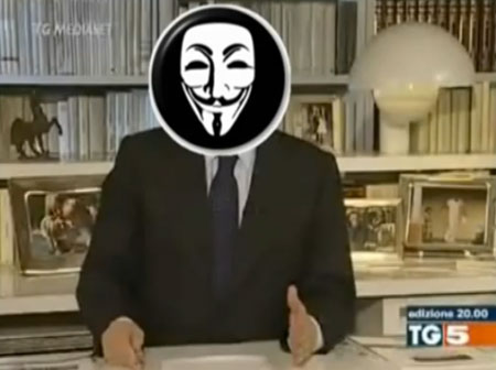 Anonymous lancia un messaggio al governo italiano