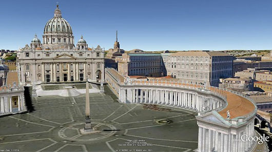 Roma in £3 su Google maps e Google Earth