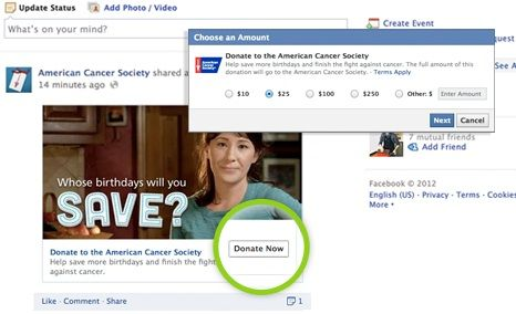 Facebook lancia il bottone Donate Now