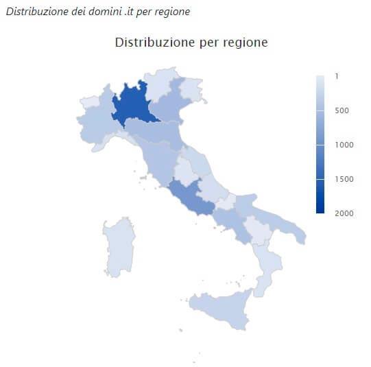 Distribuzione geografica registrazioni domini sul Coronavirus